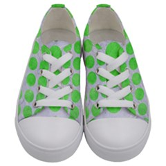 Circles1 White Marble & Green Watercolor (r) Kids  Low Top Canvas Sneakers