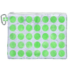 Circles1 White Marble & Green Watercolor (r) Canvas Cosmetic Bag (xxl) by trendistuff