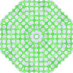 Circles1 White Marble & Green Watercolor Folding Umbrellas