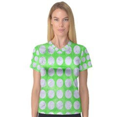 Circles1 White Marble & Green Watercolor V Neck Sport Mesh Tee