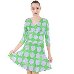 Circles1 White Marble & Green Watercolor Quarter Sleeve Front Wrap Dress by trendistuff