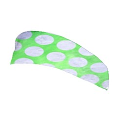Circles1 White Marble & Green Watercolor Stretchable Headband