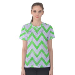 Chevron9 White Marble & Green Watercolor (r) Women s Cotton Tee
