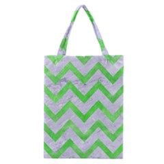 Chevron9 White Marble & Green Watercolor (r) Classic Tote Bag