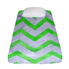Chevron9 White Marble & Green Watercolor (r) Fitted Sheet (single Size) by trendistuff