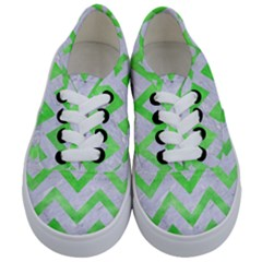Chevron9 White Marble & Green Watercolor (r) Kids  Classic Low Top Sneakers