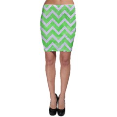 Chevron9 White Marble & Green Watercolor Bodycon Skirt