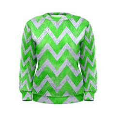 Chevron9 White Marble & Green Watercolor Women s Sweatshirt