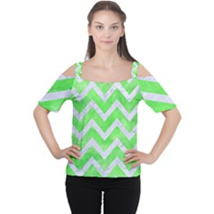Chevron9 White Marble & Green Watercolor Cutout Shoulder Tee