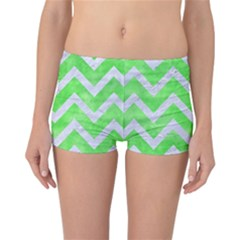 Chevron9 White Marble & Green Watercolor Reversible Boyleg Bikini Bottoms