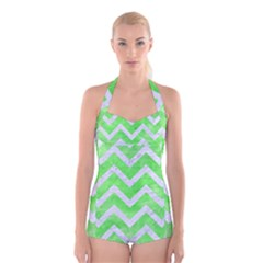 Chevron9 White Marble & Green Watercolor Boyleg Halter Swimsuit