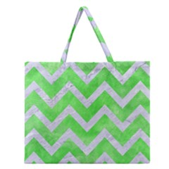 Chevron9 White Marble & Green Watercolor Zipper Large Tote Bag