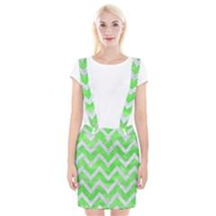 Chevron9 White Marble & Green Watercolor Braces Suspender Skirt