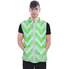 Chevron9 White Marble & Green Watercolor Men s Puffer Vest