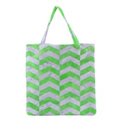 Chevron2 White Marble & Green Watercolor Grocery Tote Bag
