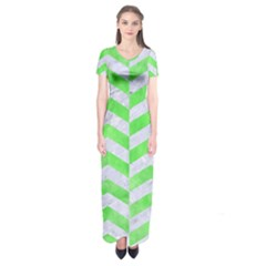 Chevron2 White Marble & Green Watercolor Short Sleeve Maxi Dress