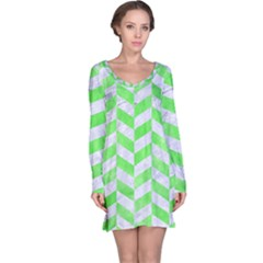 Chevron1 White Marble & Green Watercolor Long Sleeve Nightdress