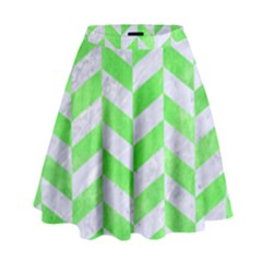 Chevron1 White Marble & Green Watercolor High Waist Skirt