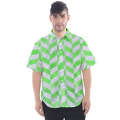 Chevron1 White Marble & Green Watercolor Men s Short Sleeve Shirt