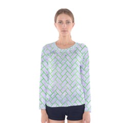 Brick2 White Marble & Green Watercolor (r) Women s Long Sleeve Tee