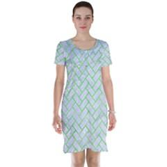 Brick2 White Marble & Green Watercolor (r) Short Sleeve Nightdress