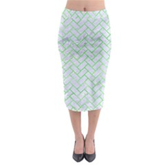 Brick2 White Marble & Green Watercolor (r) Midi Pencil Skirt
