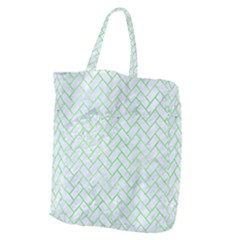 Brick2 White Marble & Green Watercolor (r) Giant Grocery Tote