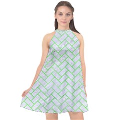 Brick2 White Marble & Green Watercolor (r) Halter Neckline Chiffon Dress