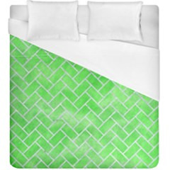 Brick2 White Marble & Green Watercolor Duvet Cover (king Size) by trendistuff