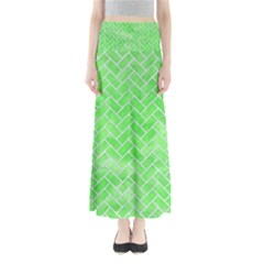 Brick2 White Marble & Green Watercolor Full Length Maxi Skirt
