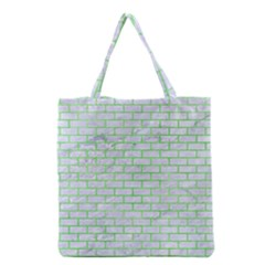 Brick1 White Marble & Green Watercolor (r) Grocery Tote Bag
