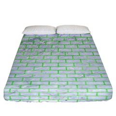 Brick1 White Marble & Green Watercolor (r) Fitted Sheet (california King Size)