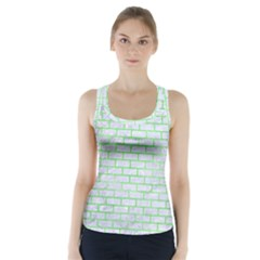Brick1 White Marble & Green Watercolor (r) Racer Back Sports Top