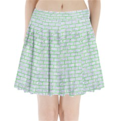 Brick1 White Marble & Green Watercolor (r) Pleated Mini Skirt