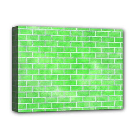 Brick1 White Marble & Green Watercolor Deluxe Canvas 16  X 12
