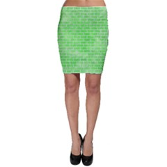 Brick1 White Marble & Green Watercolor Bodycon Skirt