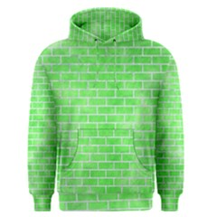Brick1 White Marble & Green Watercolor Men s Pullover Hoodie