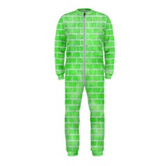Brick1 White Marble & Green Watercolor Onepiece Jumpsuit (kids)
