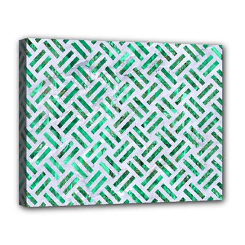 Woven2 White Marble & Green Marble (r) Canvas 14  X 11