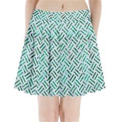 Woven2 White Marble & Green Marble (r) Pleated Mini Skirt