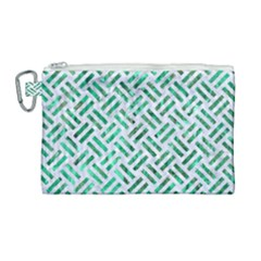 Woven2 White Marble & Green Marble (r) Canvas Cosmetic Bag (large)