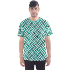 Woven2 White Marble & Green Marble Men s Sports Mesh Tee