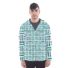 Woven1 White Marble & Green Marble (r) Hooded Windbreaker (men)