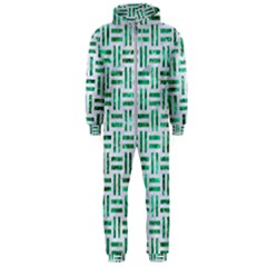 Woven1 White Marble & Green Marble (r) Hooded Jumpsuit (men)