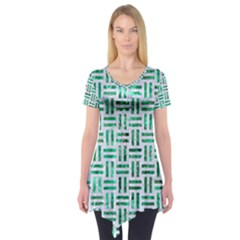 Woven1 White Marble & Green Marble (r) Short Sleeve Tunic
