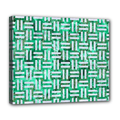 Woven1 White Marble & Green Marble Deluxe Canvas 24  X 20