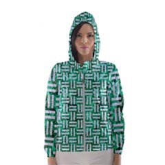 Woven1 White Marble & Green Marble Hooded Windbreaker (women)