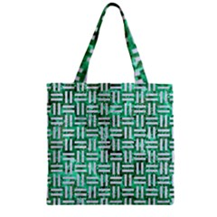 Woven1 White Marble & Green Marble Zipper Grocery Tote Bag