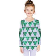 Triangle3 White Marble & Green Marble Kids  Long Sleeve Tee