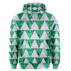 Triangle2 White Marble & Green Marble Men s Pullover Hoodie